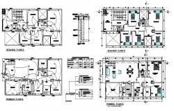 Layout plan of house 15.00mtr x 8.00mtr with detail dimension in AutoCAD