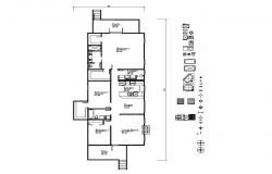 Layout plan of house 33'4'' x 73'8'' with detail dimension in dwg file