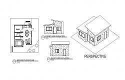 Layout plan of house with prospective view and different section in autocad file