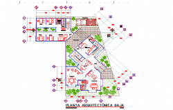 Layout plan of office project dwg file