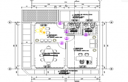Layout plan of staff room dwg file