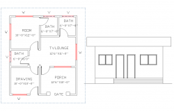 Layout plan with elevation design of house