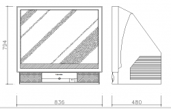 Lcd projection television cad blocks dwg file