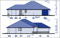 Left and right elevation details with dimension details