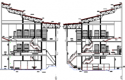 Left and right side cut sectional view of industrial plant dwg file