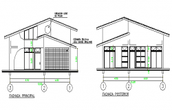 Left and right side cut sectional view of office dwg file