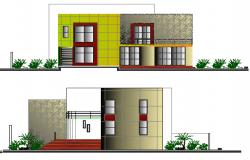 Left and right side elevation details of residential villa dwg file