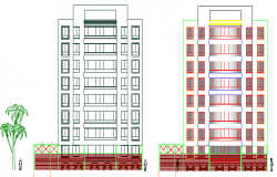 Left and right side elevation of multi-flooring housing flats dwg file