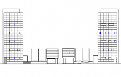 Left & right side elevation view, government council building dwg file