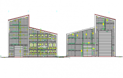Left and right side elevation view of production center dwg file