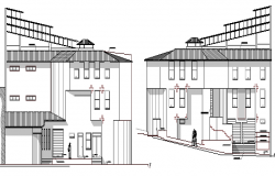 Left and right side elevation view of urban industrial plant dwg file