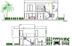 Left and right side section view of paradise villa dwg file