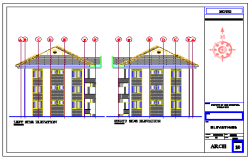 Left side and right side elevation design drawing of residential building design drawing