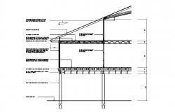Left side constructive section details of building dwg file
