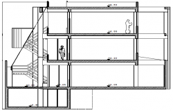 Left side cut sectional view of administration office building dwg file