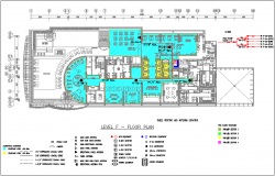 Level F floor plan with electrical view for hotel dwg file