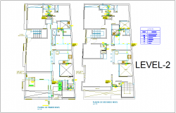 Level two first and second floor plan of  sanitary view with its legend for two level house dwg file