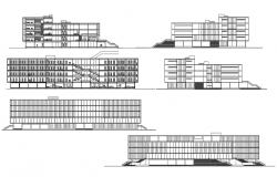 Library Building Elevation CAD Drawing