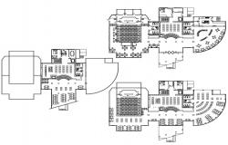 Library Building Plan CAD Drawing