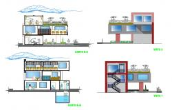 Library and education center building elevation and section cad drawing details dwg file