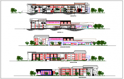 Library design with elevation and different axis section view dwg file