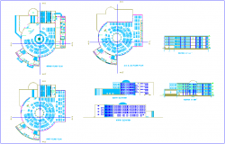 Library floor plan,elevation and section view dwg file