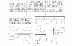 Library furniture detail elevation 2d view layout file