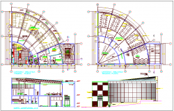 Library plan view with sectional elevation view dwg file