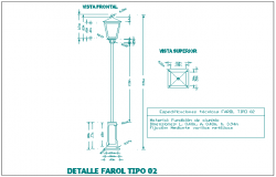 Light pole installation details of street dwg file