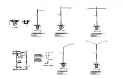 Light pole structure detail 2d view CAD block layout file in autocad format
