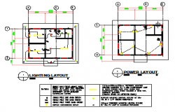 Lighting and Power layout design drawing of Small hospital design drawing
