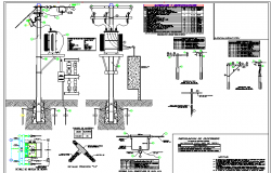 Lighting pole mounted electrical transformer details dwg file