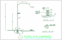Lighting pole with harm electric installation details dwg file