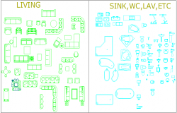 Living,sink,WC logo and symbol design of block dwg file