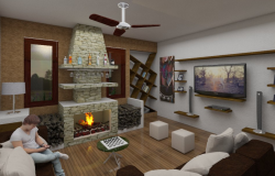 Living room 3 D home plan autocad file