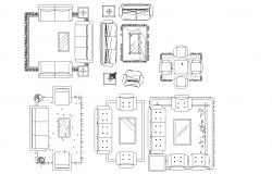 Living room furniture plan detail dwg.
