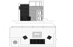 Living room plan and section detail dwg file