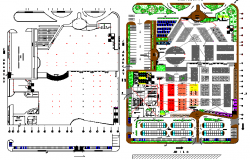 Local city market landscaping details with structure dwg file