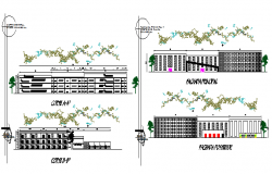 Local city shopping center elevation and sectional details dwg file