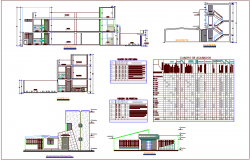 Local communal building elevation and section with door and window detail dwg file
