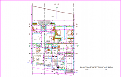 Local family housing floor plan with architectural view dwg file