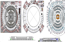 Local market elevation, section and floor plan details dwg file