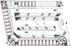Local market parking lot and layout plan details dwg file