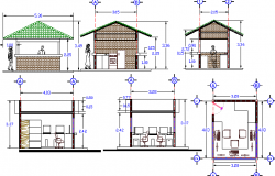 Local mini shop elevation and sectional details dwg file