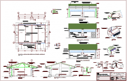 Local multiple use area architectural plan,elevation and section view dwg file
