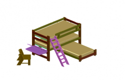 Loft Bed For Students Made In AutoCAD
