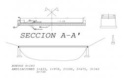 Long bridge elevation, section and auto-cad details dwg file