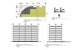 Longitudinal and transverse section and structure details of multi-level building dwg file