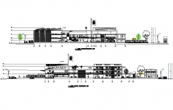 Longitudinal section school elevation detail dwg file
