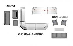 Loop straight and corner sofa set 3d cad drawing details dwg file